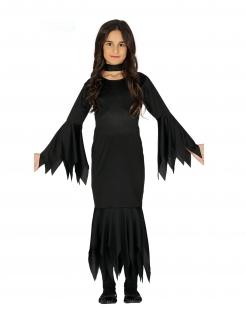 Unheimliche Gothic-Lady Kinder-Kostüm schwarz