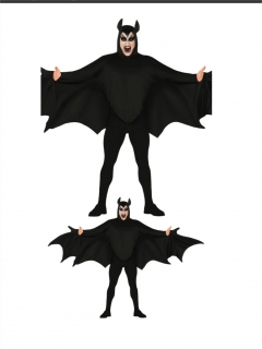 Halloween Fledermaus-Kostüm für Herren schwarz