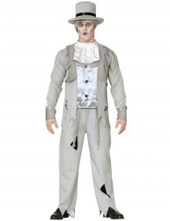 Geister-Bräutigam Kostüm für Herren grau-weiss-schwarz