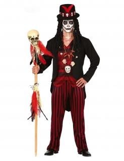 Voodoo-Magier-Kostüm für Herren Halloween schwarz-rot