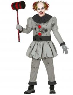 Psychoclown-Verkleidung für Herren grau-schwarz-rot