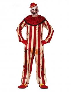 Gestreiftes Horrorclown-Kostüm für Herren rot-weiss