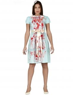 Geister-Zwilling Horror-Kostüm für Damen blau-weiss