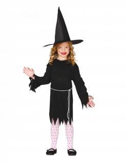 Süßes Hexen-Kostüm für Mädchen schwarz-weiss