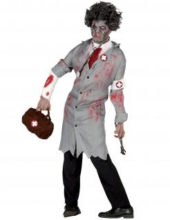 Retro Zombie-Doktor Herren-Kostüm für Halloween grau-weiss-rot