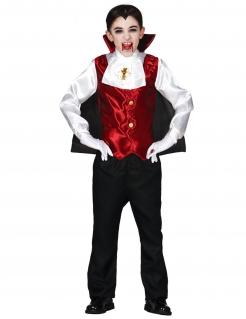 Vampirgraf Kinder-Kostüm für Halloween schwarz-weiss-rot