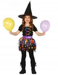 Fröhliche Hexe Kinder-Kostüm schwarz-bunt