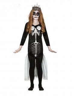 Skelett-Meerjungfrau Halloween-Kostüm für Mädchen schwarz-weiss