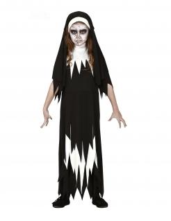 Geister-Nonnen-Kostüm für Kinder Halloween-Kostüm schwarz-weiss
