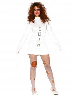 Gruselige Psychatrie-Patientin Damenkostüm für Halloween weiss