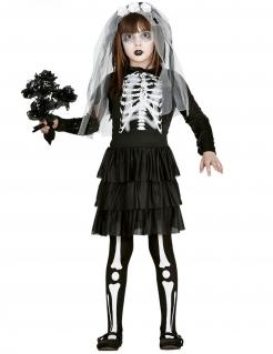 Wunderschöne Skelettbraut Kinder-Kostüm für Mädchen schwarz-weiss