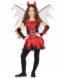 Teufel-Kostüm für Mädchen rot-schwarz-weiss