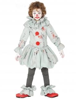 Schauriges Killerclown-Kostüm für Jungen grau-rot