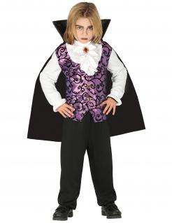 Vampir Kinder-Kostüm für Jungen violett-schwarz-weiss