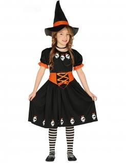 Hexen-Kostüm mit Totenschädeln für Halloween schwarz-weiss-orange