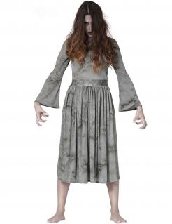 Schreckliches Gespenst Damen-Kostüm für Halloween grau