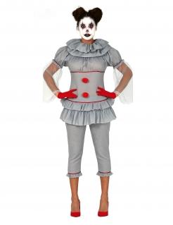 Psychoclown-Damenkostüm grau-rot