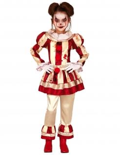 Blutige Clowns-Verkleidung für Mädchen rot-cremefarben