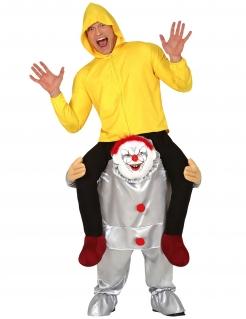 Killerclown Huckepack-Kostüm für Erwachsene bunt