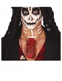 Blutiges Herz Voodoo-Halskette rot