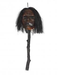 Leuchtender Kopf am Spieß Horror-Deko schwarz-braun 53 cm