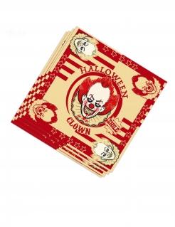 Horrorclown Papierservietten 20 Stück rot-beigefarben 33 x 33 cm