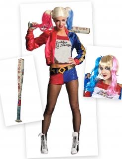 Harley Quinn Kostüm-Set Deluxe 6-teilig bunt