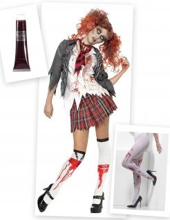 Zomibe-Schülerin Damen-Kostümset grau-weiss-rot