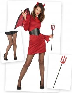 Scharfe Teufelin Halloween-Kostümset für Damen 6-teilig rot-schwarz