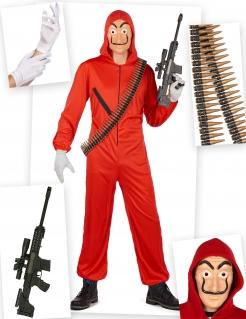 Berühmter Bankräuber Kostüm-Set für Herren bunt