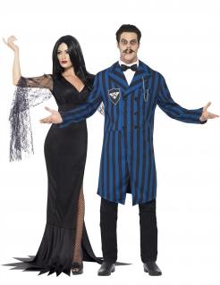 Unheimliche Gothic-Familie Paarkostüm für Halloween schwarz-blau