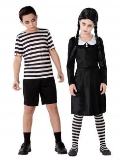 Kinder-Paarkostüm für Halloween Gothic-Familie schwarz-weiss