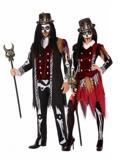 Hexendoktor Voodoo-Paarkostüm für Erwachsene bunt