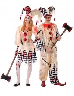 Horrorclown Paarkostüm für Teenager cremefarben-rot-schwarz