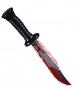 Blutiges Messer Mörder-Waffe für Halloween schwarz-silberfarben-rot 33 cm