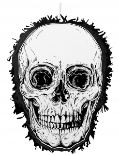 Totenkopf-Pinata schwarz-weiss 35 x 25 cm