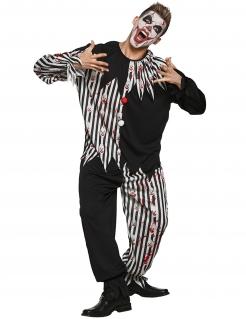 Killerclown Herren-Kostüm schwarz-weiss-rot