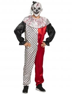 Verrücktes Psychoclown-Herrenkostüm schwarz-weiß-rot