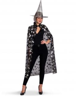Hexen-Zubehörset Hut Umhang 2-teilig schwarz-silberfarben
