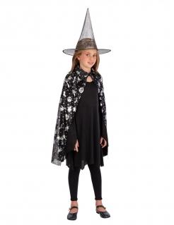 Hexen-Set für Kinder Zauberer-Kostüm Umhang mit Hut schwarz- silber