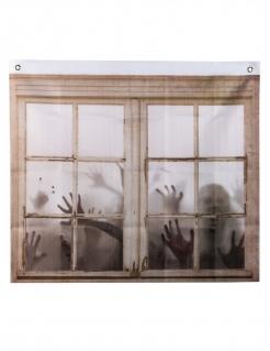 Zombie-Vorhang Halloween-Fensterdeko braun-weiß 75 x 90 cm