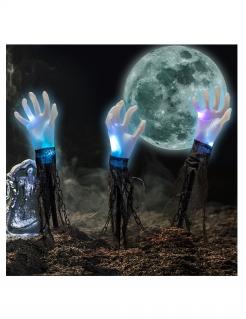 Geister-Hand Halloween-Gartendeko 3 Stück mit Licht 60 cm