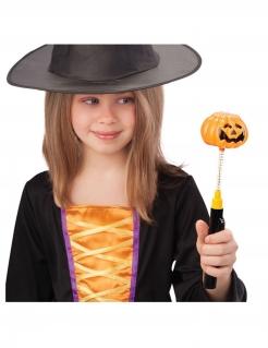 Wackelkopf Kürbis-Leuchtstab für Halloween schwarz-orangefarben
