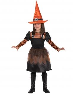 Hexen-Kostüm für Mädchen schwarz-orange