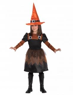 Süßes Hexen-Kostüm für Kinder Kleid und Hut schwarz-orange