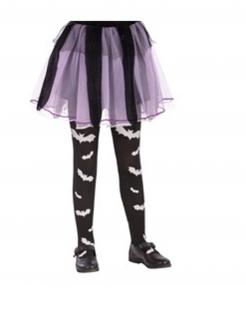 Fledermaus-Strumpfhose für Mädchen schwarz-weiss