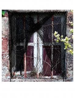 Gerissener Horror-Vorhang für Halloween schwarz 200x75 cm