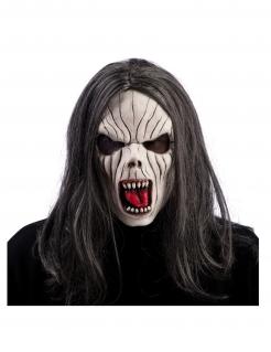 Langhaar Vampir-Maske für Erwachsene schwarz-weiss-rot