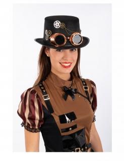 Steampunk-Zylinder für Erwachsene schwarz-bronzefarben-grau