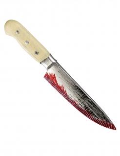 Blutiges Messer Halloween-Waffe grau-beigefarben 33 cm